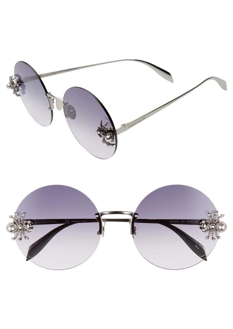 Alexander McQueen 62mm Oversize Rimless Round Sunglasses