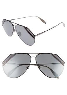 Alexander McQueen 65mm Snip Frame Aviator Sunglasses