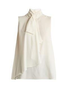 Alexander McQueen Asymmetric-drape georgette blouse