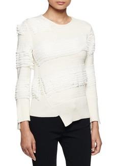 Alexander McQueen Asymmetric Ruffle-Knit Sweater