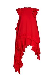 Alexander McQueen Asymmetric ruffle-trimmed silk-crepe top