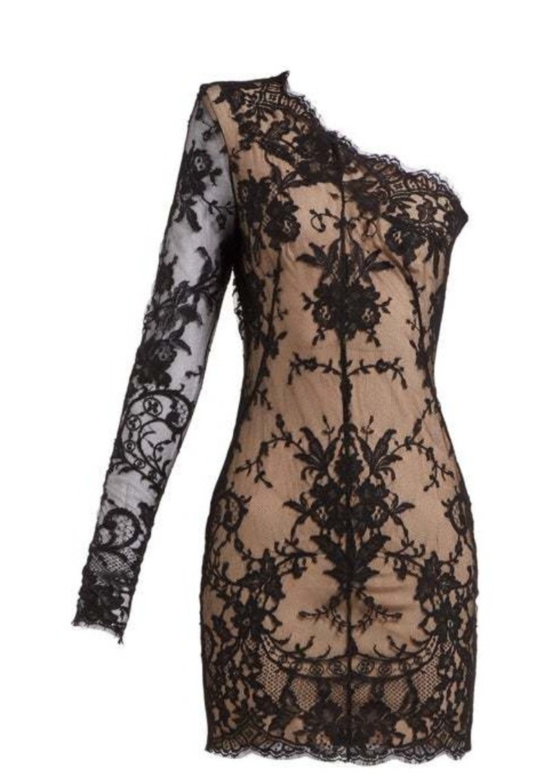 Alexander McQueen Asymmetric sarabande-lace mini dress