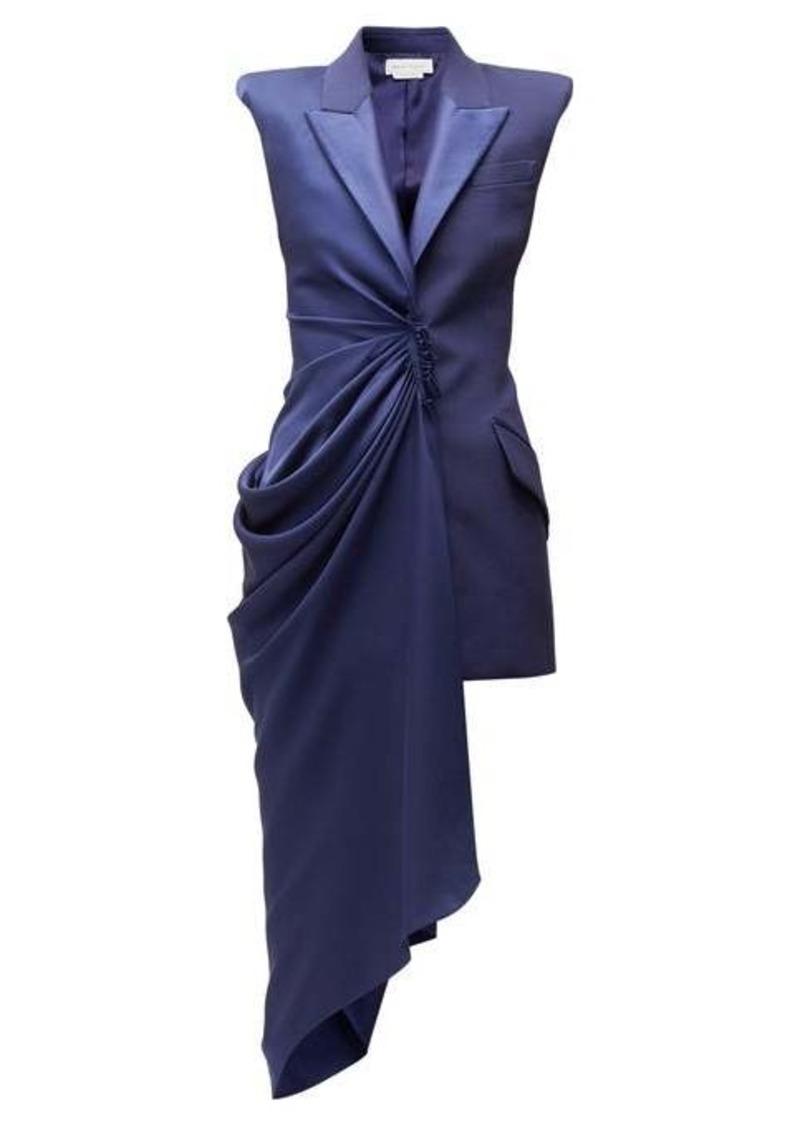 Alexander McQueen Asymmetric single-breasted longline wool jacket
