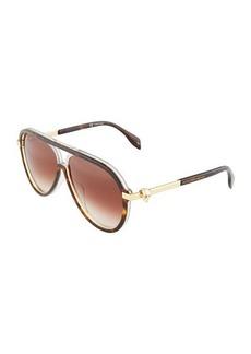 Alexander McQueen Aviator Havana Sunglasses