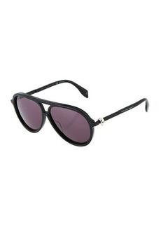 Alexander McQueen Aviator Solid Sunglasses