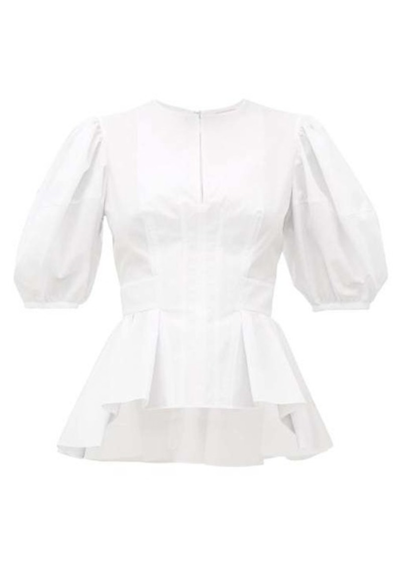 Alexander McQueen Balloon-sleeve peplum-hem cotton-poplin top