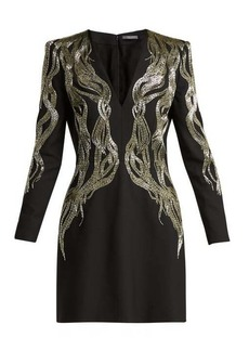 Alexander McQueen Bead-embroidered wool-blend mini dress