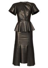 Alexander McQueen Bell-sleeve peplum leather midi dress