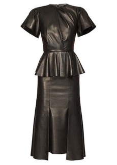 Alexander McQueen Bell-sleeve peplum leather midi dress