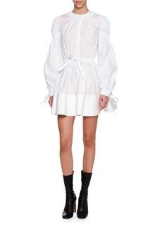 Alexander McQueen Blouson-Sleeve Tie-Waist Minidress