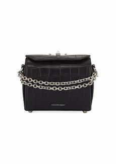 Alexander McQueen Box 19 Crocodile-Embossed Crossbody Bag