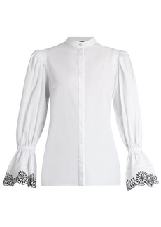 Alexander McQueen Broderie-anglaise trimmed cotton blouse