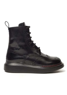 Alexander McQueen Brogue platform sole leather boots