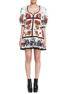 Alexander McQueen Bubble-Sleeve Tablecloth-Print Dress