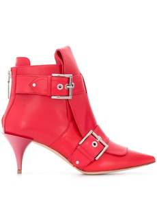 Alexander McQueen buckled ankle boots - Red