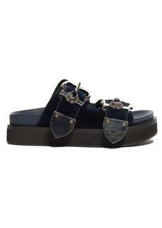 Alexander McQueen Buckled flatform velvet sandals