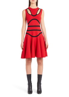 Alexander McQueen Bustier Knit Fit & Flare Dress