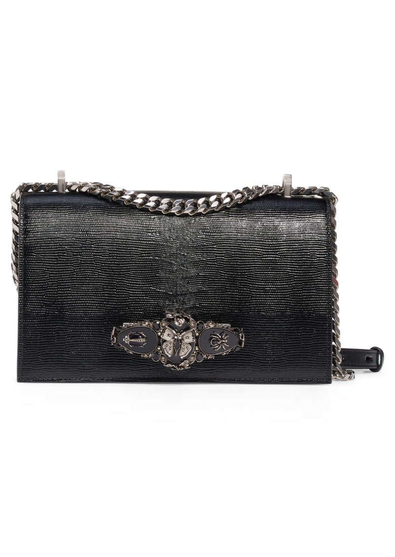 Alexander McQueen Butterfly Knuckle Reptile Embossed Leather Shoulder Bag