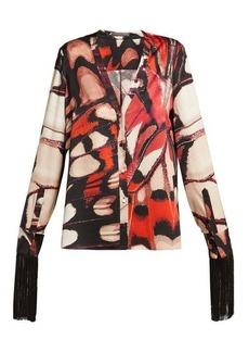 Alexander McQueen Butterfly-print silk blouse