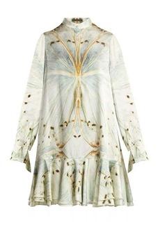Alexander McQueen Butterfly-print silk mini dress