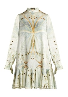 Alexander McQueen Butterfly-print silk mini dress