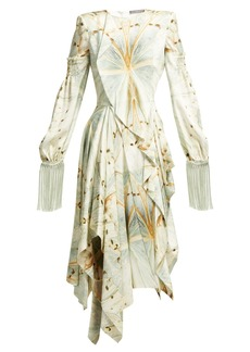 Alexander McQueen Butterfly-print silk-satin asymmetric midi dress