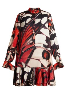 Alexander McQueen Butterfly-print silk-satin mini dress