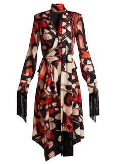Alexander McQueen Butterfly-print tassel-trim silk midi dress