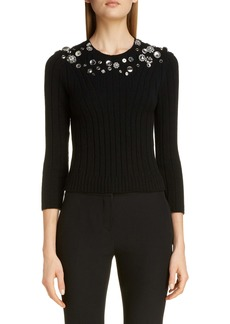 Alexander McQueen Button Detail Wool Blend Sweater