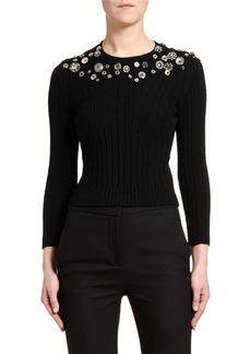 Alexander McQueen Button-Embroidered Bracelet-Sleeve Sweater