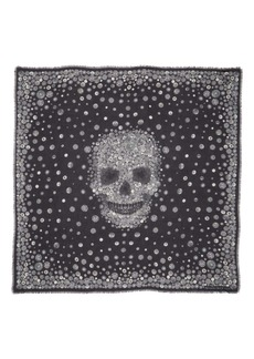 Alexander McQueen Button Night Skull Modal & Wool Square Scarf
