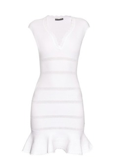 Alexander McQueen Cap-sleeve cotton-blend peplum dress