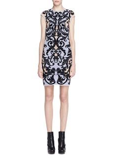 Alexander McQueen Cap-Sleeve Spine Lace Jacquard Dress