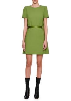 Alexander McQueen Cape-Back Short-Sleeve Minidress