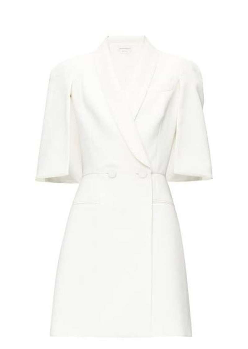 Alexander McQueen Cape-sleeve double-breasted wool-blend mini dress
