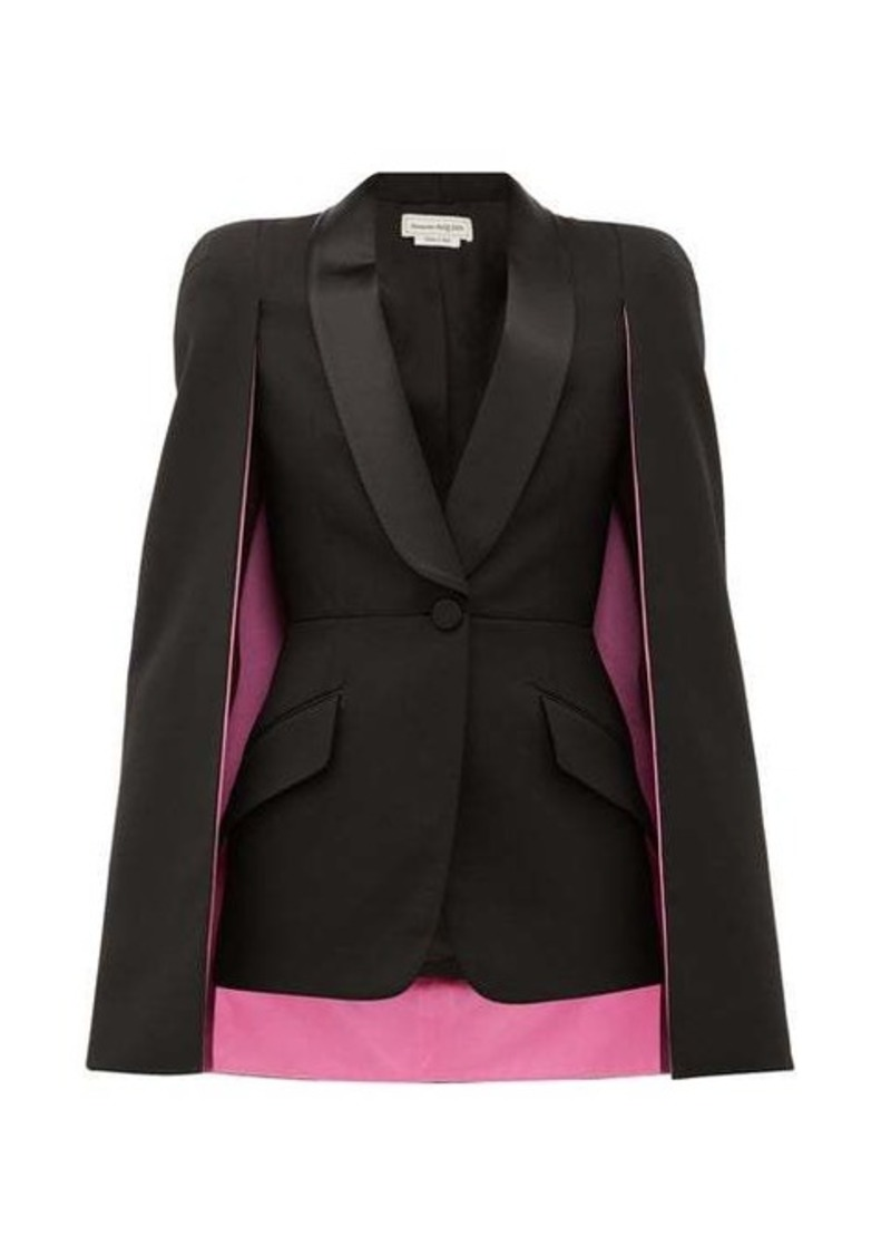 Alexander McQueen Cape-sleeve single-breasted wool-blend blazer