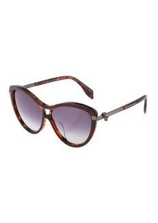 Alexander McQueen Cat-Eye Aviator Plastic Sunglasses