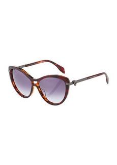 Alexander McQueen Cat-Eye Havana Plastic/Metal Sunglasses