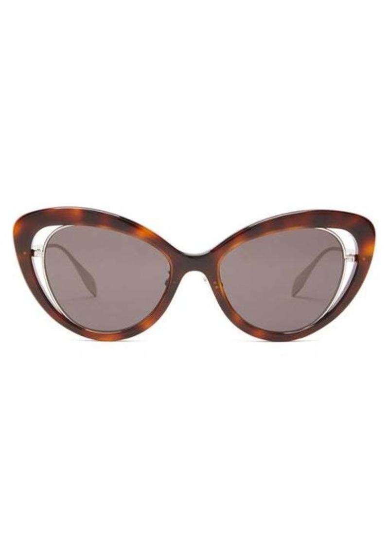 Alexander McQueen Cat-eye tortoiseshell-acetate sunglasses