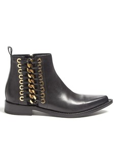 Alexander McQueen Chain-side leather ankle boots