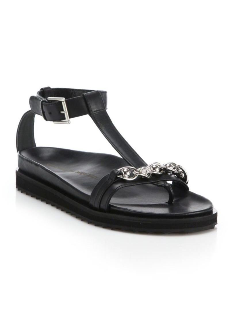 Alexander McQueen Chain-Trim Leather T-Strap Sandals
