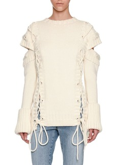 Alexander McQueen Chunky Lace-Up Detached-Sleeve Pullover