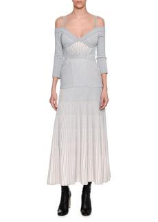 Alexander McQueen Cold-Shoulder Metallic Armour Knit Corset Midi Dress