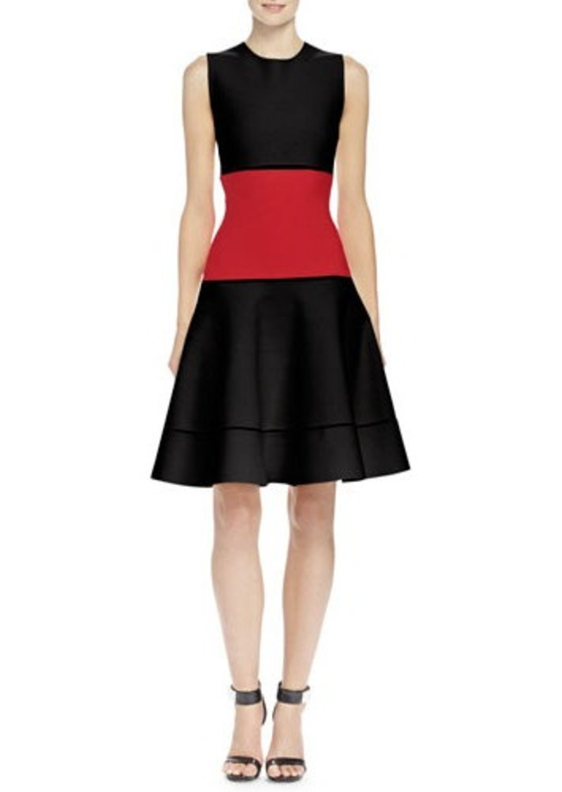 Alexander McQueen Colorblock Jacquard Fit-And-Flare Dress