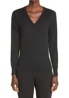 Alexander McQueen Colorblock V-Neck Cashmere Sweater