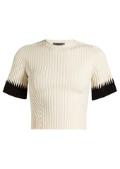 Alexander McQueen Contrast-cuff ribbed cropped top