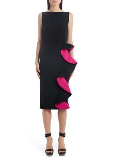 Alexander McQueen Contrast Ruffle Trim Sheath Dress