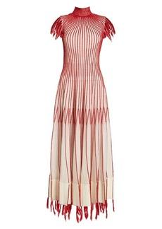 Alexander McQueen Contrast-stitching fringed-edge dress