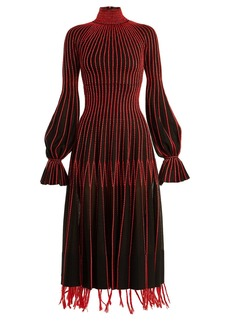 Alexander McQueen Contrast-stitching high-neck silk dress