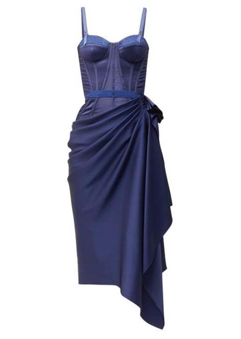 Alexander McQueen Corset draped satin dress